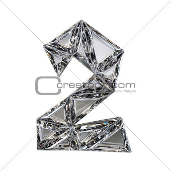 Crystal triangulated font number TWO 2 3D