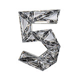 Crystal triangulated font number FIVE 5 3D
