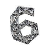 Crystal triangulated font number SIX 6 3D