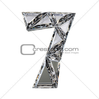Crystal triangulated font number SEVEN 7 3D
