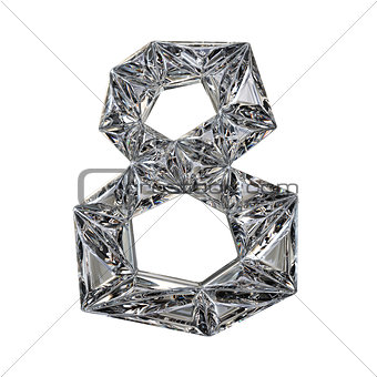 Crystal triangulated font number EIGHT 8 3D
