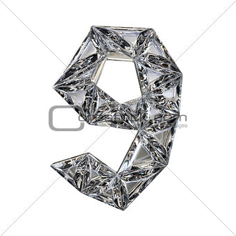Crystal triangulated font number NINE 9 3D