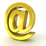 E-mail sign, at symbol, 3D golden