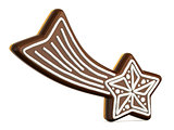 Chocolate Christmas gingerbread falling star decorated with whit