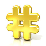 Hashtag, number mark 3D golden sign
