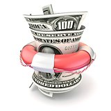 Red lifebuoy saving money, roll dollars. 3D