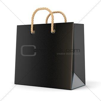 Single, empty, black, blank shopping bag. 3D