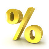 Percent 3D golden sign