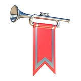 Fanfare silver trumpet and red flag 3D