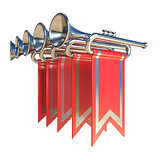 Fanfare five silver trumpets and red flags 3D