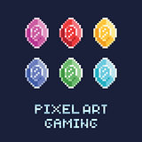 pixel art style vector illustration set - diamonds of different colors