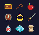 Vector pixel art illustration isons for fantasy adventure game development, magic staff, sword, food, chest, spell, ring, potion