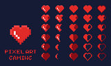 8 bit pixel art GUI Game design element - heart for health gradation