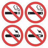 Vector symbol set - vaping forbidden, smoking electronic cigarette not allowed