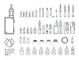 vecor set of vape related simple line Icons. RDA, Atomizer, drip tip, mod, e-liquid, coil