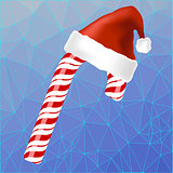 Sweet Red Candy Cane and Hat of Santa Claus
