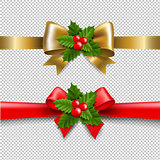 Golden And Red Bow With Holly Berry
