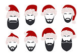 Silhouette of a man's face with a black beard, a black mustache and a red Santa Claus hat vector illustration on white background.