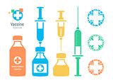 Vaccine vial and syringe, infographic elements. Injection vaccination logo, vector illustration.