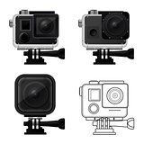 Set of action camera icons in waterproof case - sport cam icon