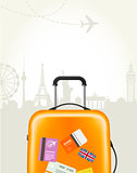 Travel agency poster with plastic suitcase and european landmark