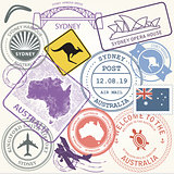 Australia travel stamps set with landmark of Sydney - journey sy