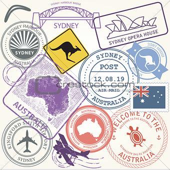 Australia travel stamps set with landmark of Sydney - journey sy