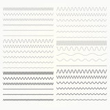 Set of wavy lines  - zigzag and squiggly borders collection