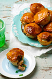 Mini chicken, sherry and herb pies.style rustic