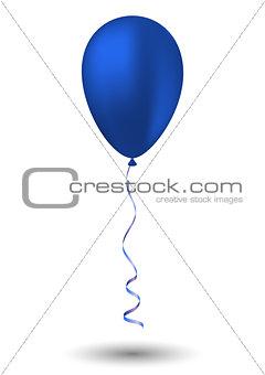 Blue balloon on white background