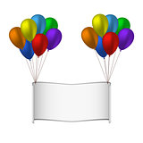 Colorfull balloons and banner on white background