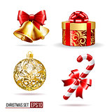 Bells, gift box, candycane and christmas ball