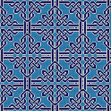 Knitted seamless blue and white ornate pattern