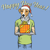 Dog vector illustration celebrating new year