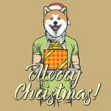 Dog vector illustration celebrating new year