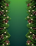 Fir Branch with Neon Lights and Pine Cone on Green Background. M