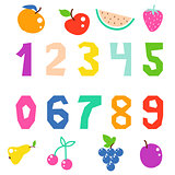 Kid math numerals and fruits bright signs vector isolated.