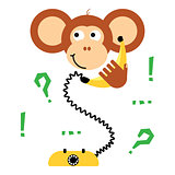 Cute cartoon monkey calling banana phone vector tee print.