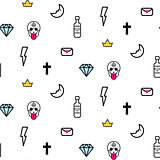 Doodle hipster lightning, skull eye and diamond seamless vector pattern.