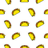 Taco mexican food seamless vector pattern.