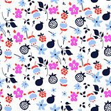 Millefleur flowers and fruits pink purple abstract seamless pattern.