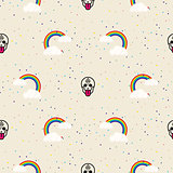 Skull and rainbow funny seamless vector pattern.