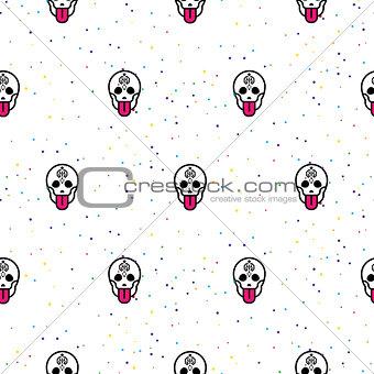 Skull funny seamless vector pattern.