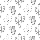Cactus simple line coloring style vector pattern.
