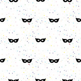 Masquerade mask simple black and white vector pattern.