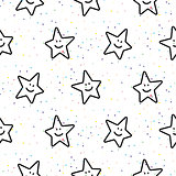 Stars smileys black and white seamless vector pattern.