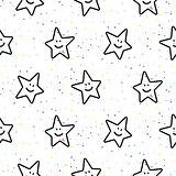Stars smileys black and white seamless vector pattern.