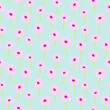 Tender blue pink poppy light color seamless simple pattern.