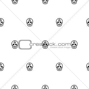 Skull small elegant seamless vector pattern.