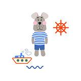 Sailor dog tshirt cartoon design vector.